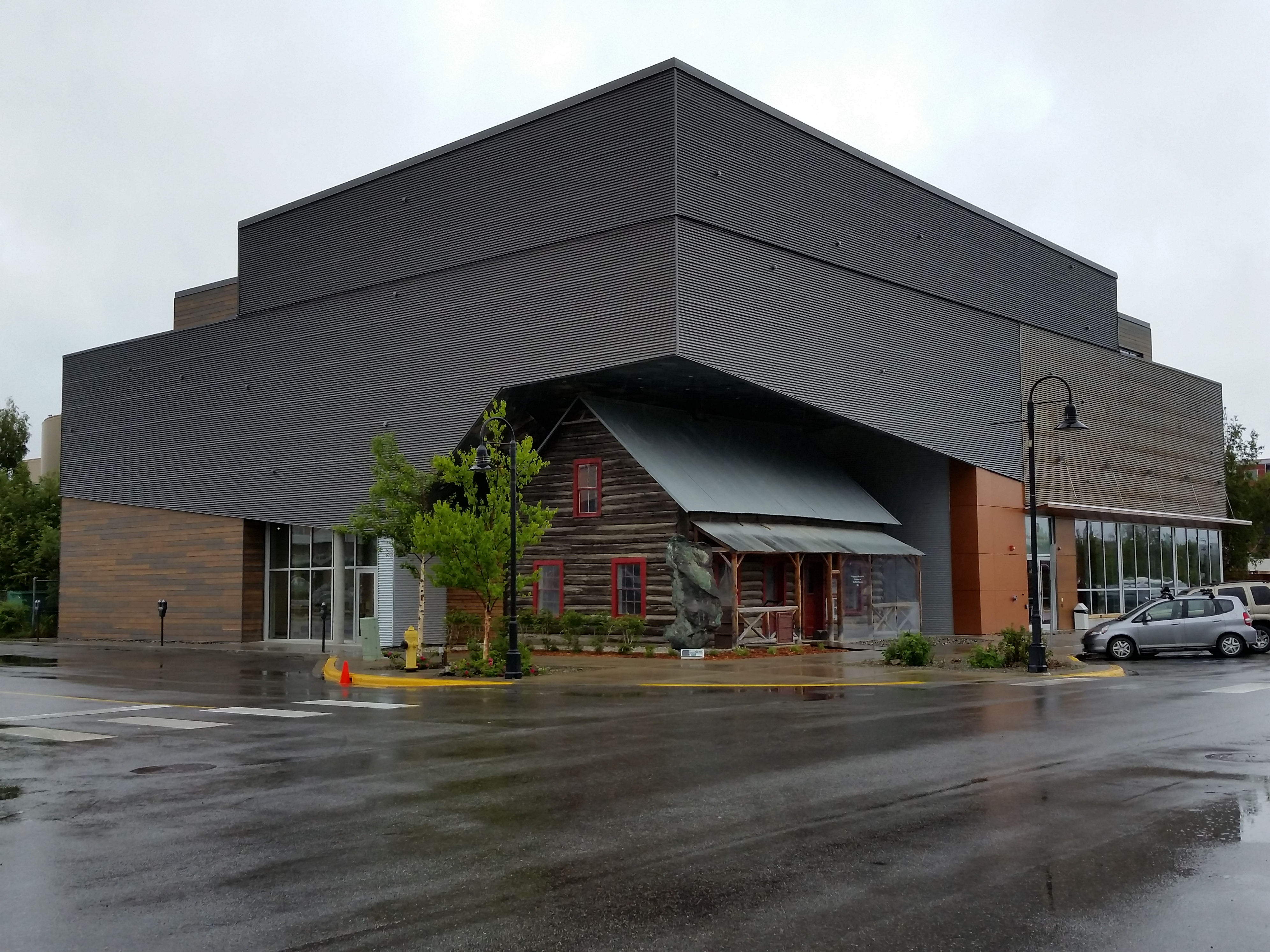 The new MacBride Museum of the Yukon shelters the town's first telegraph office A giant chunk of copper sits on the corner - photo by Debra Smith